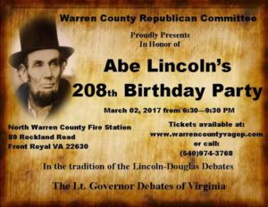 WCRC 2nd Annual Lincoln Dinner Thursday March 2nd 6:30 P.M. - 9:30 P.M. North Warren Fire House @ North Warren Fire Dept | Front Royal | Virginia | United States